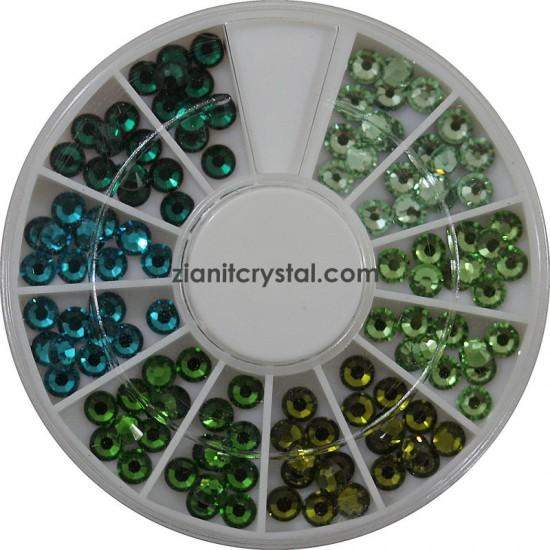 Swarovski Hotfix Crystals SS10 Green Color Pack