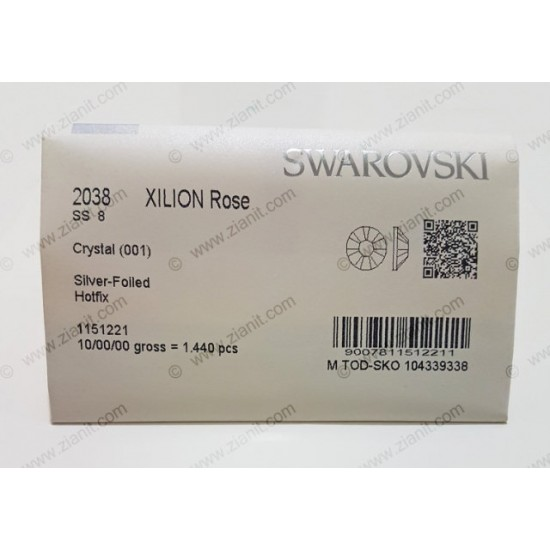 Swarovski 2038 Hotfix Crystals SS8 Crystal Color 1440 pcs