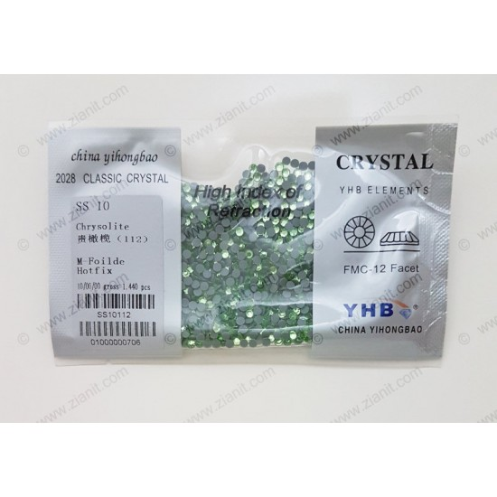 YHB Hotfix Crystals SS10 Chrysolite 1440 pcs