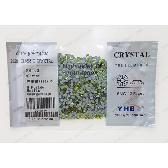 YHB Hotfix Crystals SS10 Olivine 1440 pcs