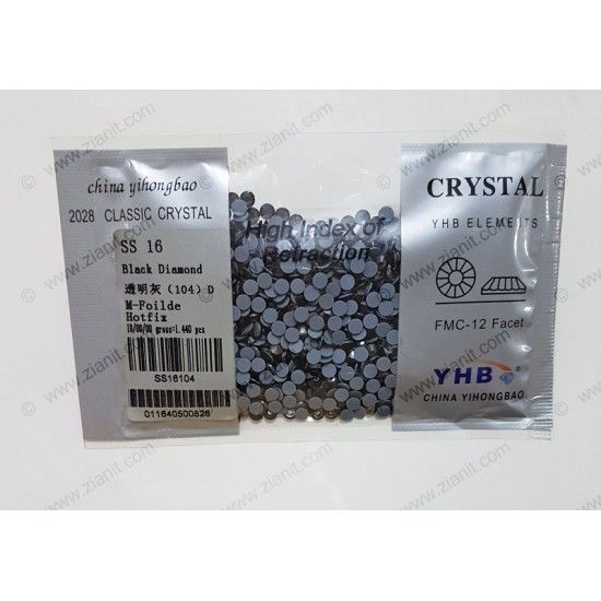 YHB Hotfix Crystals SS16 Black Diamond 1440 pcs