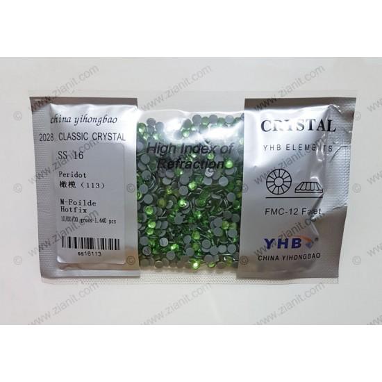 YHB Hotfix Crystals SS16 Peridot 1440 pcs