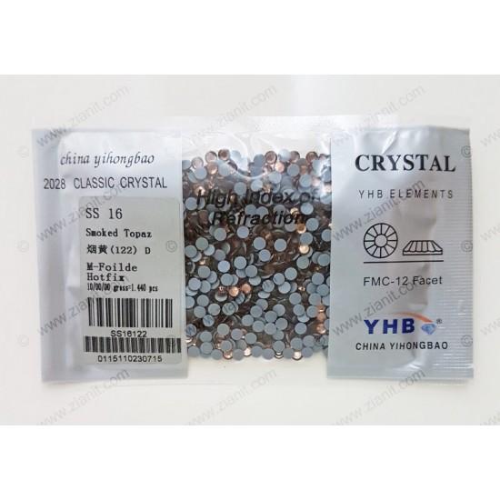 YHB Hotfix Crystals SS16 Smoked Topaz 1440 pcs