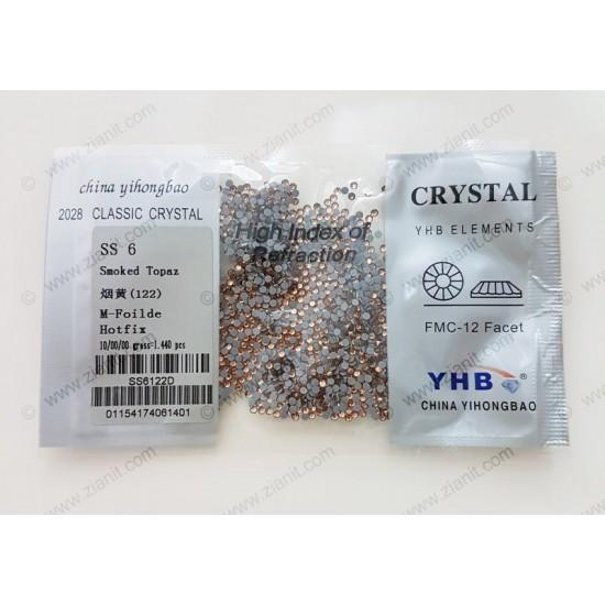YHB Hotfix Crystals SS6 Smoked Topaz 1440 pcs