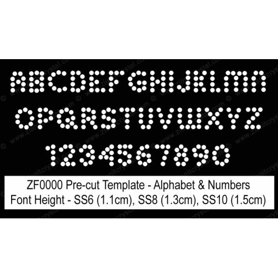 ZF0000 Rhinestone Font Pre-Cut Template Set