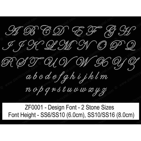 ZF0001 Multi-Size Rhinestone Design Font (2 Hotfix Sizes)