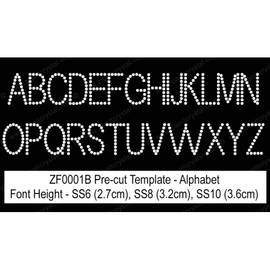 ZF0001B Rhinestone Font Pre-Cut Template Set