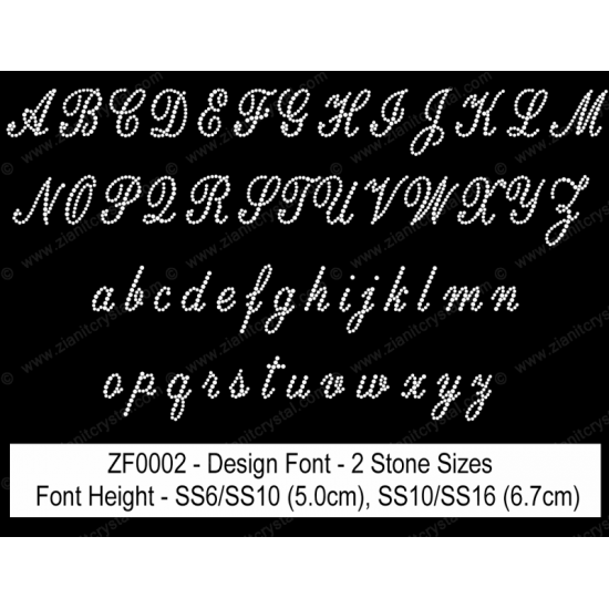 ZF0002 Multi-Size Rhinestone Design Font (2 Hotfix Sizes)