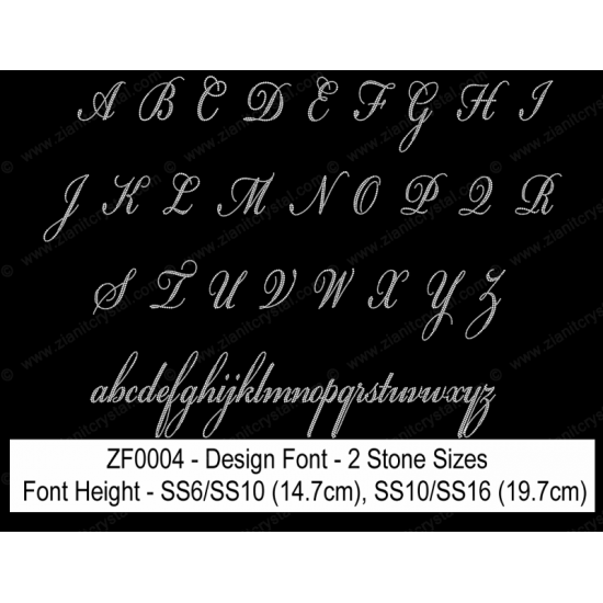 ZF0004 Multi-Size Rhinestone Design Font (2 Hotfix Sizes)
