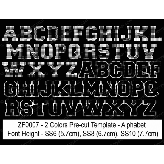 ZF0007 Multi-Color Rhinestone Font Pre-Cut Template Set