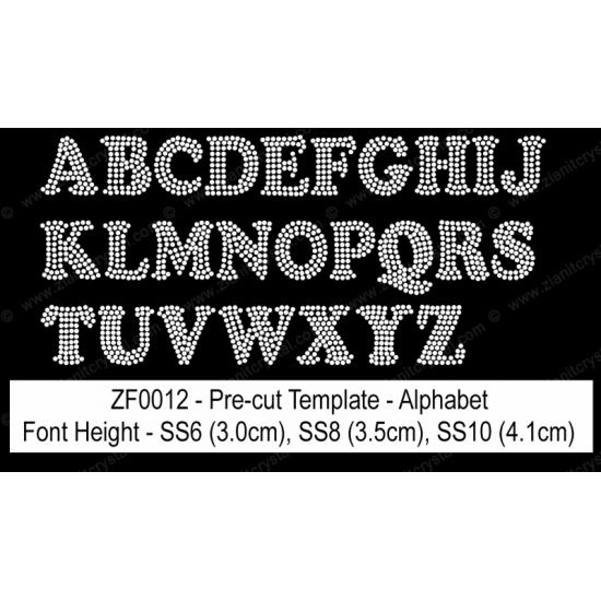 ZF0012 Rhinestone Font Pre-Cut Template Set