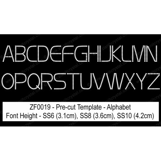 ZF0019 Rhinestone Font Pre-Cut Template Set