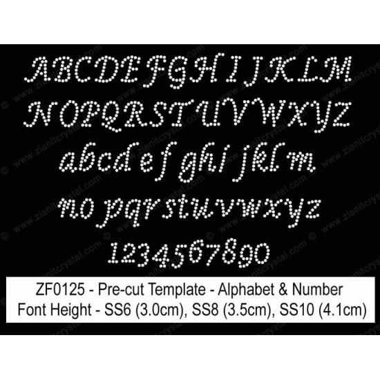 ZF0125 Rhinestone Font Pre-Cut Template Set