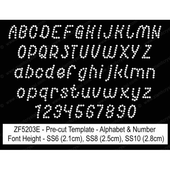 ZF5203E Rhinestone Font Pre-Cut Template Set