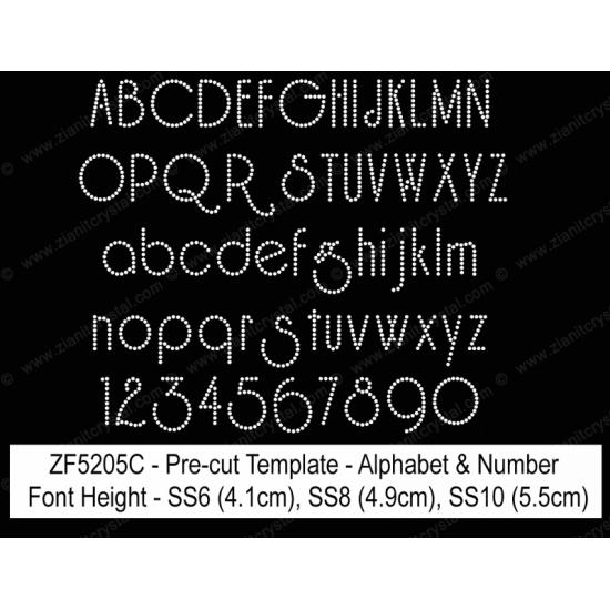 ZF5205C Rhinestone Font Pre-Cut Template Set