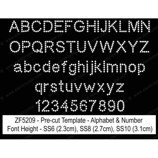 ZF5209 Rhinestone Font Pre-Cut Template Set