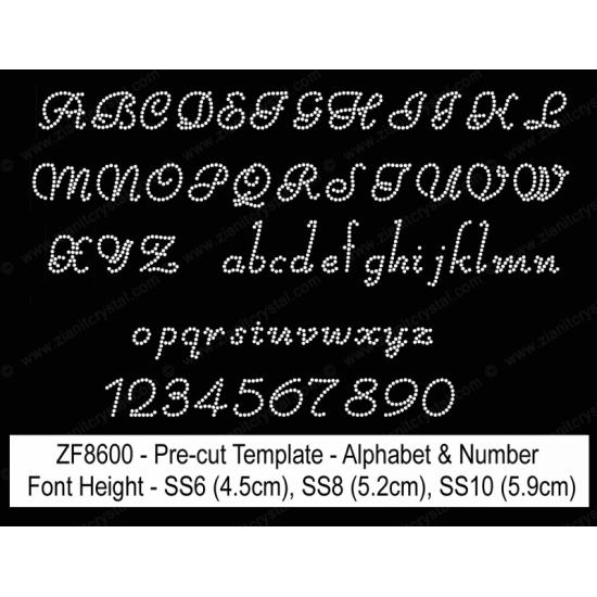 ZF8600 Rhinestone Font Pre-Cut Template Set